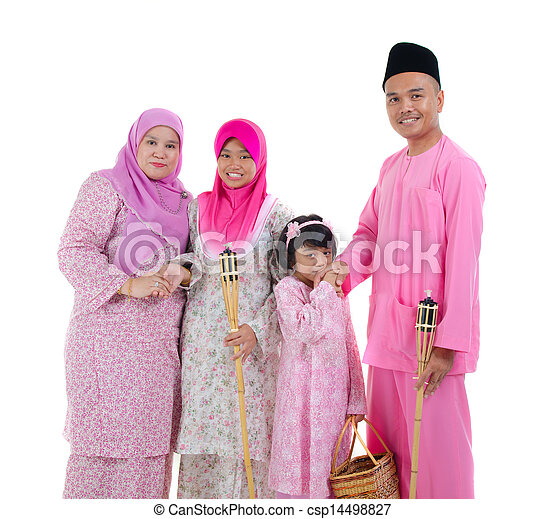 malay indonesian family during hari raya occasion isolated with white background   - csp14498827