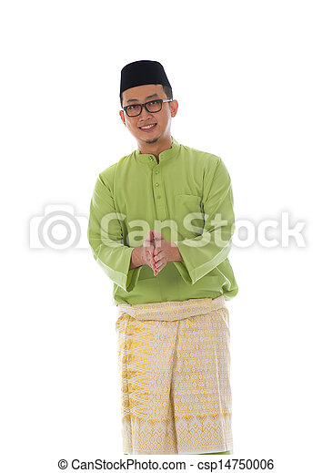 Malay male greetings during hari raya  with isolated white background - csp14750006