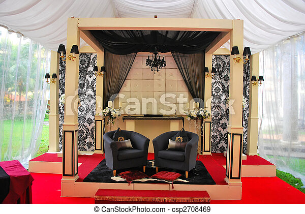 Malay Wedding Decorations Decorated And Raised Stage Where The