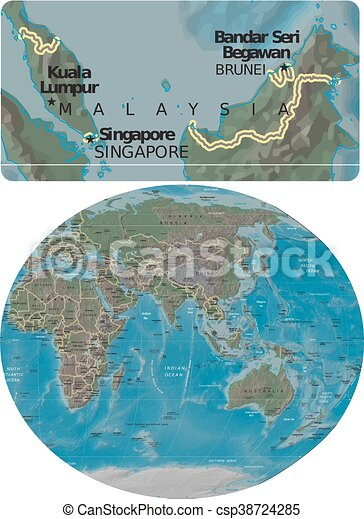 Malaysia And Asia Oceania Map Malaysia Enlarged From Asia Oceania Map