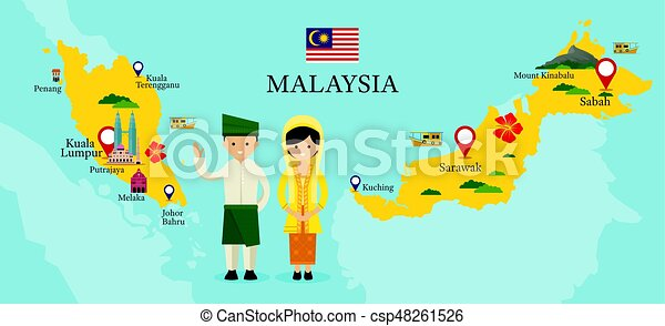 Malaysia map and landmarks with people in traditional vector