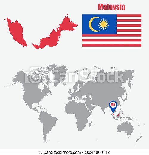 Vector Clip Art of Malaysia map on a world map with flag and map