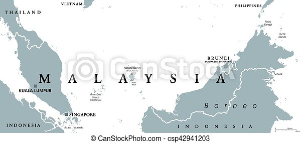 Malaysia Political Map With Capital Kuala Lumpur In Asia Vector - Indonesia political map