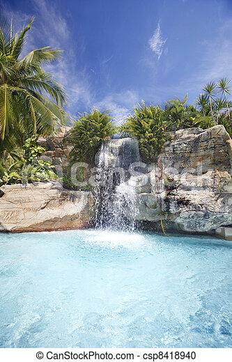 malaysia, rainforest., vízesés, hegy - csp8418940