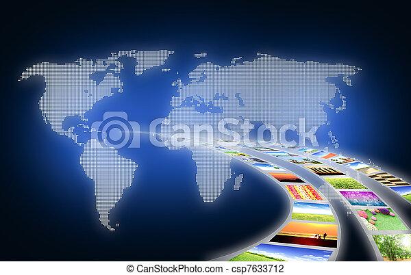malba, umění, business pohybovat se, běžet, krajina - csp7633712