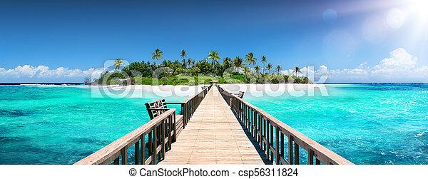 Destino tropical, maldivas, muelle para la isla Paraíso - csp56311824