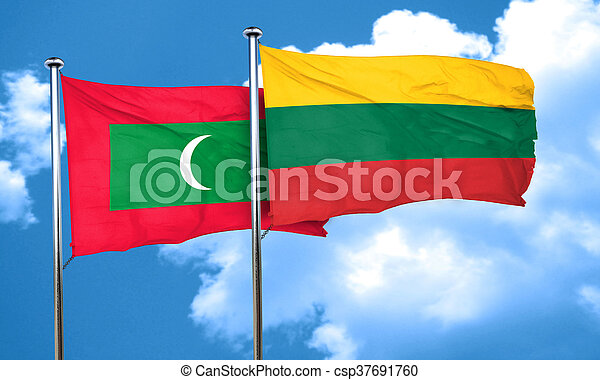 Maldives flag with Lithuania flag, 3D rendering - csp37691760