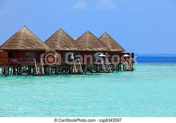 maldives., kupy, willa, woda - csp6343597