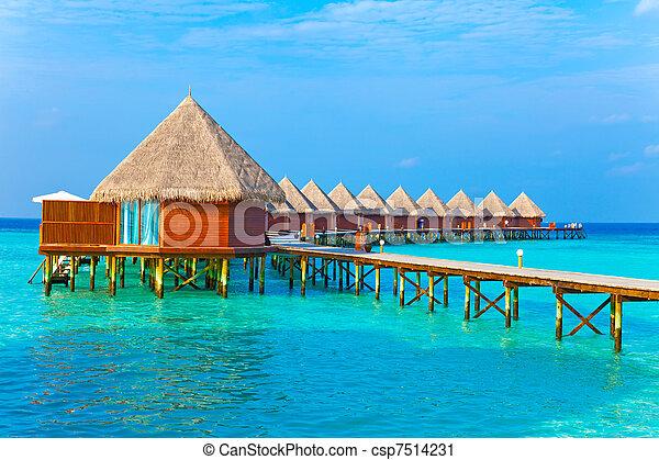 maldives., kupy, willa, woda - csp7514231