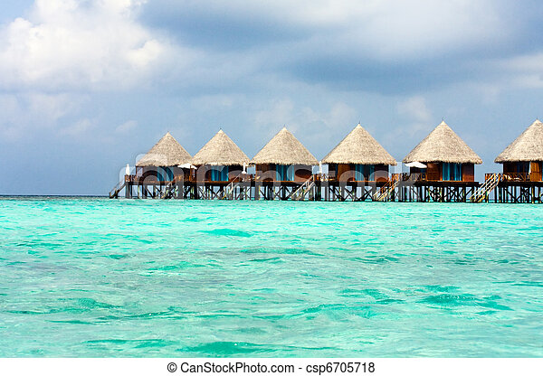 maldives., kupy, willa, woda - csp6705718