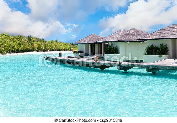 maldives., kupy, willa, woda - csp9815349
