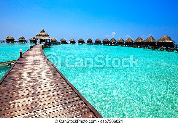 maldives., kupy, willa, woda - csp7306824
