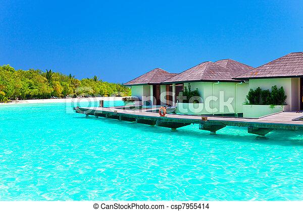 maldives., kupy, willa, woda - csp7955414