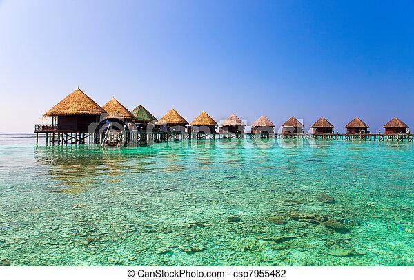 maldives., kupy, willa, woda - csp7955482
