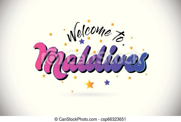 Maldives Welcome To Word Text with Purple Pink Handwritten Font and Yellow Stars Shape Design Vector. - csp66323651