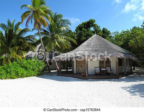 Maldivian beach bungalow - csp15763844