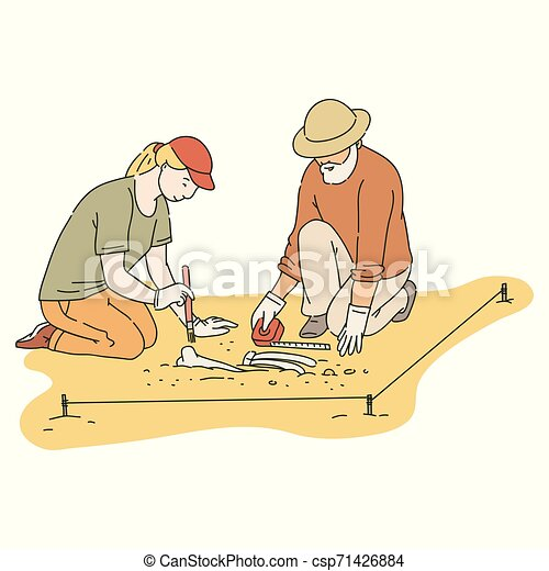 Male and female archaeologists working on site with special tools sketch  style