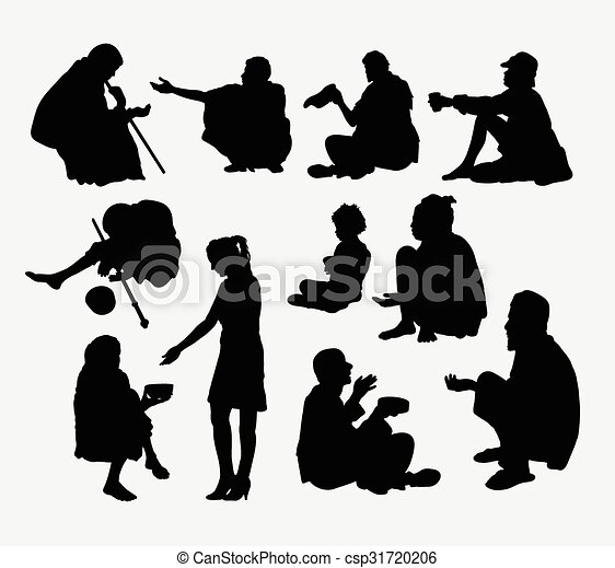 Male And Female Beggar Silhouette Stock Illustration