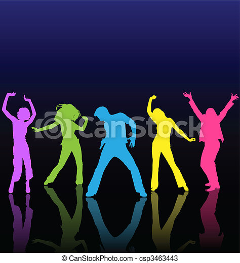 Male and female dancing colored silhouettes with reflections on dance floor. - csp3463443