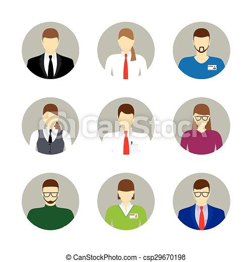 Male and female faces avatars, icon