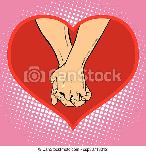 Male And Female Hand Together In A Red Heart Symbol Of Love Pop Art