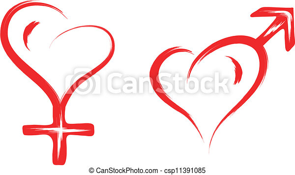 Abstract Sketch Illustration Of Male And Female Sex Heart Symbol