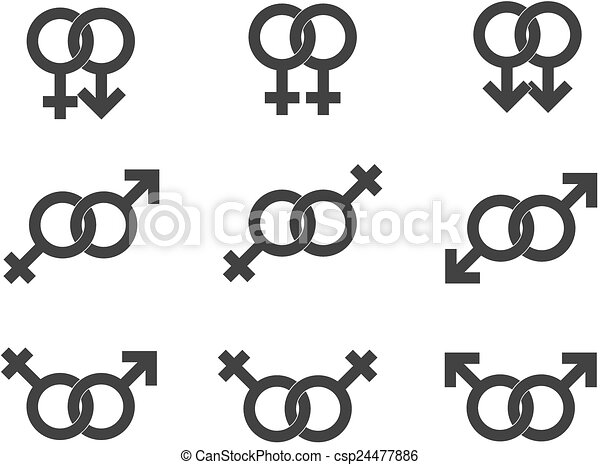 Male And Female Symbols Gender Signs Vector In Grey
