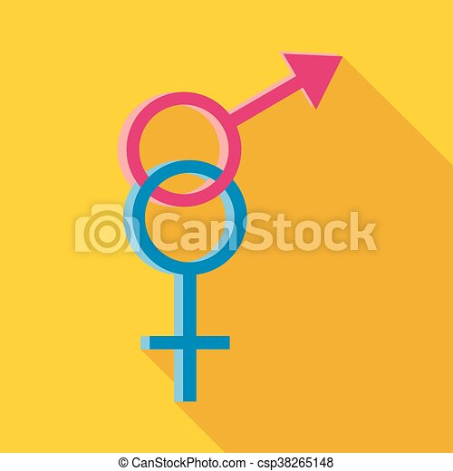 Male And Female Symbols Icon Flat Style Male And Female Symbols