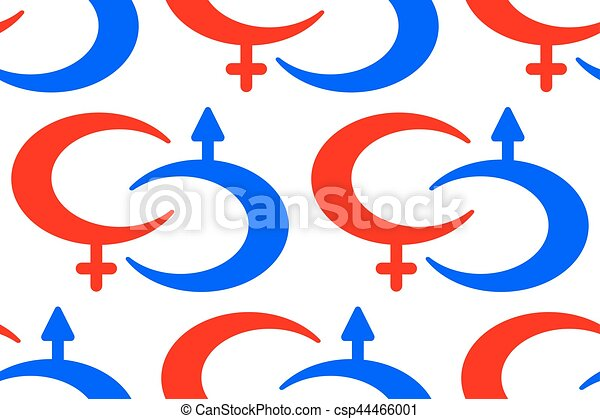 Male And Female Symbols Pattern Seamless Pattern Of The Vector