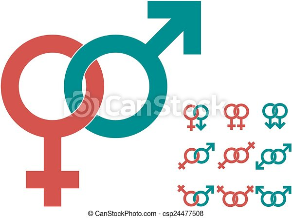 Male And Female Symbols Gender Signs Vector In Two Colors Vector