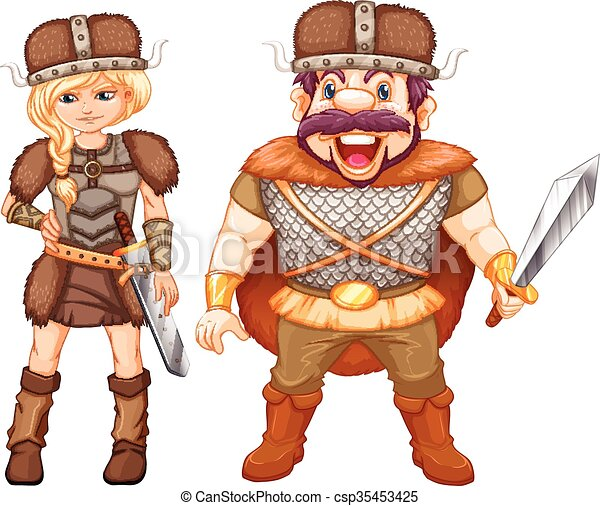 Male and female vikings in armour suit - csp35453425
