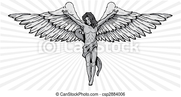 Male angel in a crucifix pose vector illustration - csp2884006