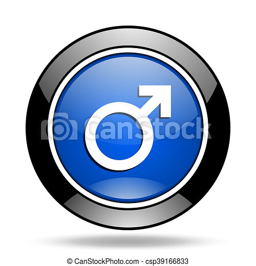male blue glossy icon - csp39166833