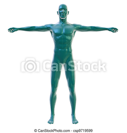 Male body on white, front view - csp9719599