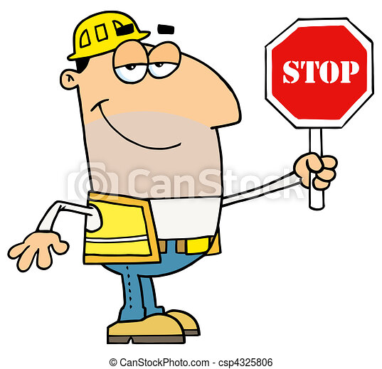 friendly male caucasian traffic director holding a stop sign clip rh canstockphoto com director clipart direction clip art