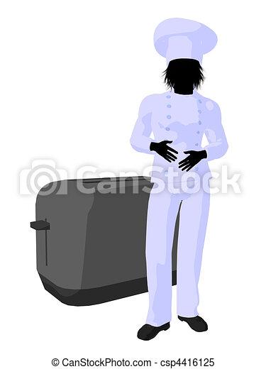 Male Chef Art Illustration Silhouette - csp4416125