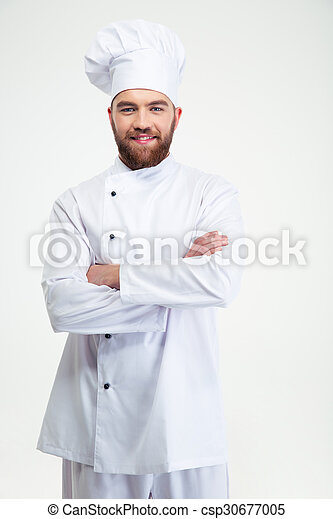 Male chef cook standing with arms folded - csp30677005