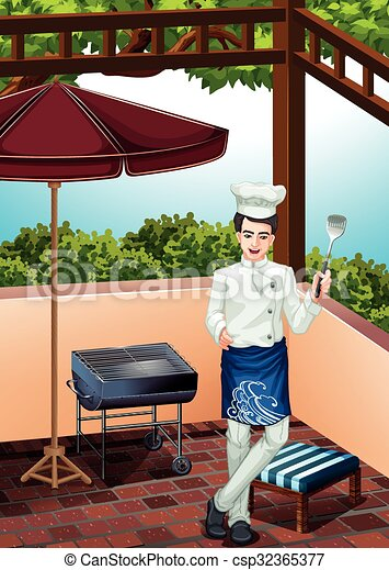 Male chef cooking on the grill - csp32365377