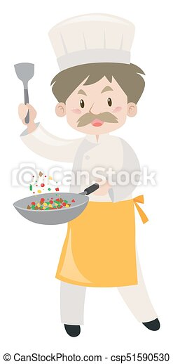 Male chef cooking with pan and spatula - csp51590530