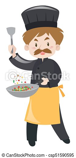 Male chef with spatula and pan - csp51590595