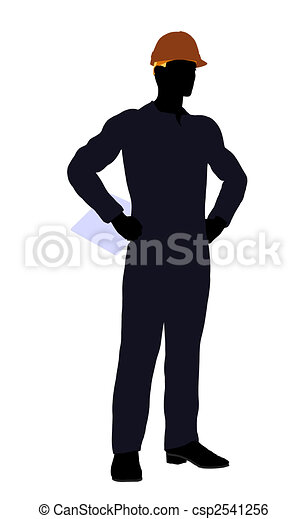 Male Construction Worker Illustration Silhouette - csp2541256