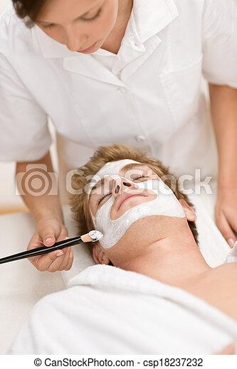 Male cosmetics - facial mask - csp18237232