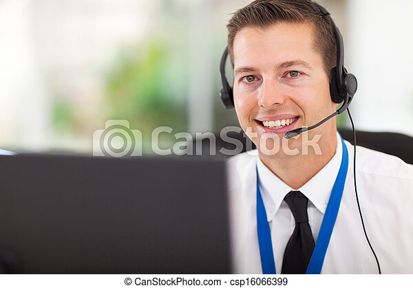 male customer support operator with headset - csp16066399