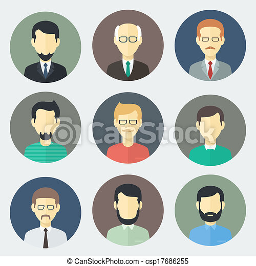 male faces icons set colorful male faces circle icons set in trendy rh canstockphoto com vector facebook logo vector facebook logo download