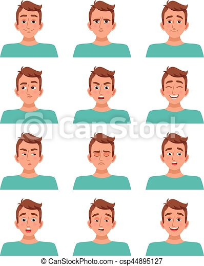 Male Facial Expressions Set - csp44895127