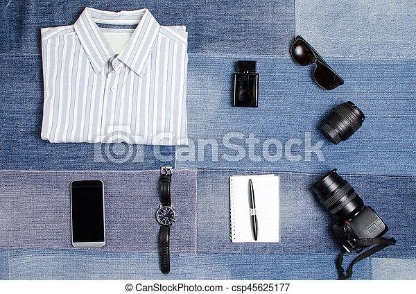 c8a2470ddffea Male fashion accessories on denim background flatlay.