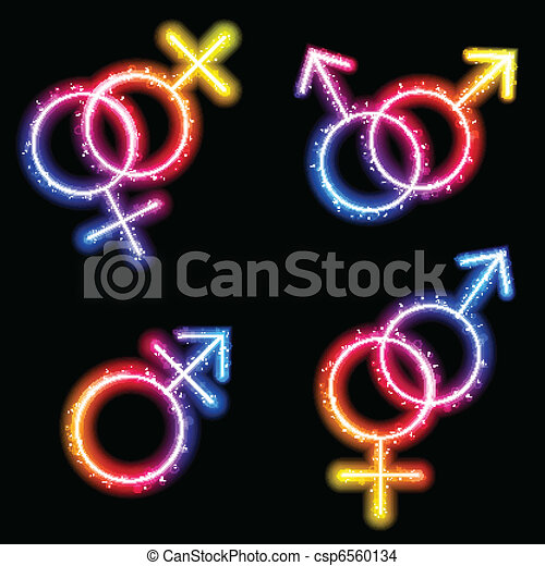Male, Female and Transgender Gender Symbols Laser Neon - csp6560134