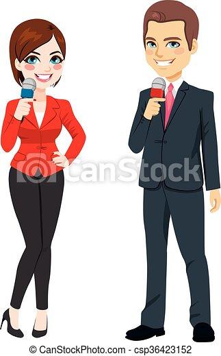 Male Female News Reporter - csp36423152