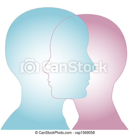 Male & Female Silhouette Profile Faces Merge - csp1569058