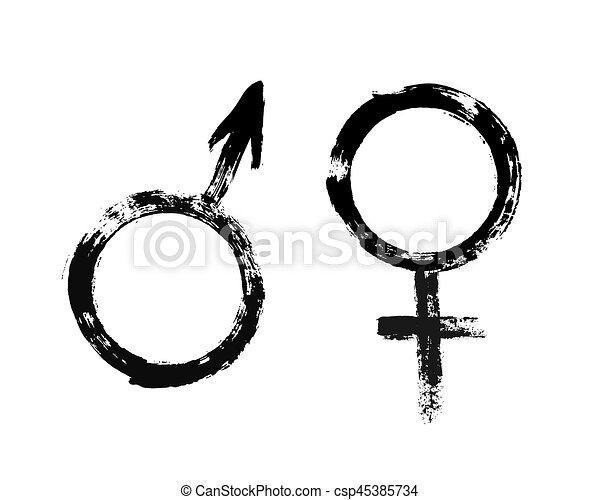 Male Female Symbols Grunge Painted Style Male And Female Symbols